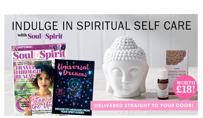 Complete your meditation space | FREE* Buddha Oil Burner and Aroma Oil | when you subscribe to Soul & Spirit (logo) magazine | 3 issues for £19.99*