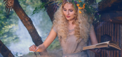blonde witch outside with owl and cauldron making potions
